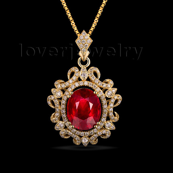 Wholesale wholesale royal pendant in solid 14kt yellow gold style diamond ruby pendant 342c 1 mozeypictures Image collections