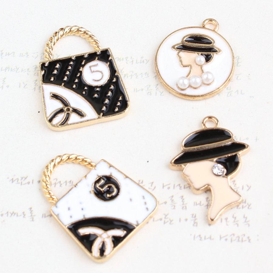 Newest 20PCS Mini Order Women Handbags Beauty Head Shape Oil Drop Jewelry Pendant Charms Gold Tone Metal Enamel Fashion Charms<br><br>Aliexpress