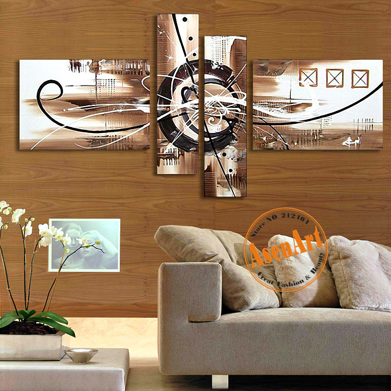 Hand Painted Canvas Oil Painting Abstract Wall Art 4pcs
