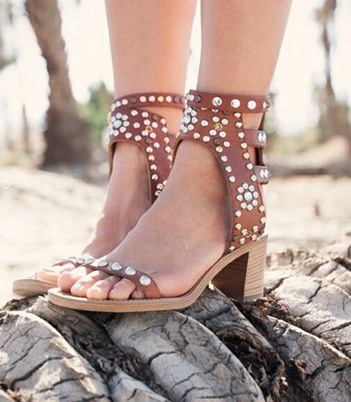 Free Shipping 2016 Fashion Summer shinning bling bling crystal sandals red rhinestone design square heel sandals high heels