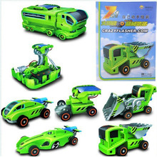 New Creative Rechargeable Solar Changing Equipment, Children's Educational Toys Car, You Can Transform Any Seven Styles, Solar(China (Mainland))