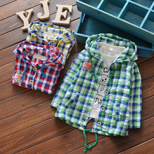 In the spring of 2016's new children cotton shirt Hooded Shirt Boy Baby casual Plaid turtleneck jacket