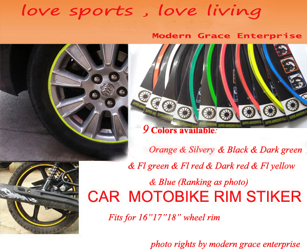 "10 Colors,18 Stripes 14""-18"" Wheel Rim Decal Sticker for Car & Motorcycle,Best Car Styling,Strong blister pack,Free Shipping"