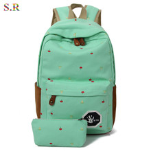 2016 Newest Canvas Backpack Female Flowes Printing Backpack Preppy Style School Bags For Teenagers Mochila Militar CB185(China (Mainland))