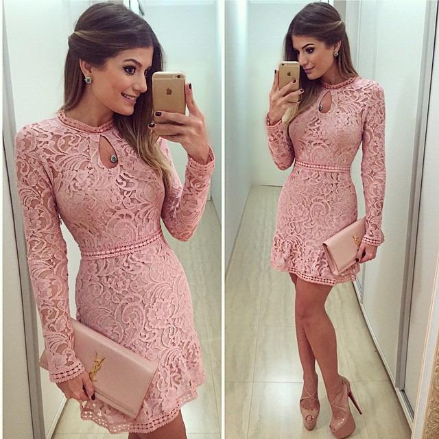 New Arrive Vestidos Women Fashion Casual Lace Dress 2015 O-Neck Long Sleeve Pink Evening Party Dresses Vestido de festa 3 Color(China (Mainland))