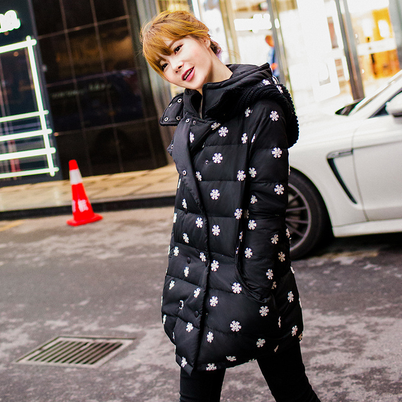 2014 new winter women snow embroidery cotton-padded jacket coat hooded thick plus size medium-long parkas outerwear RY486
