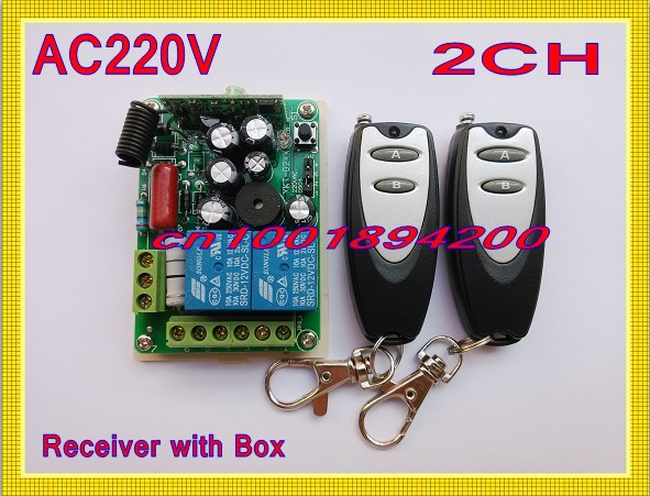 220V 2 Channel Lighting Remote Control Switches Lamp LED Light Remote ON OFF Switch System 1Receiver 2Transmitter Learning Code(China (Mainland))