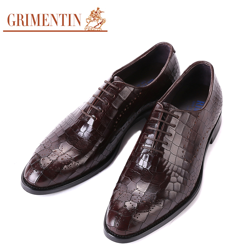 GRIMENTIN fashion mens dress shoes luxury brand black brown stone pattern italian leather men flats male wedding 2016 - store