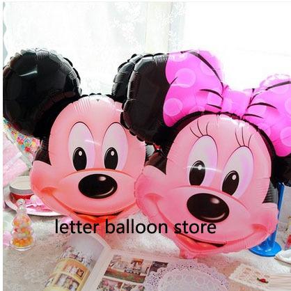 1pcs mickey minnie mouse head aluminum balloon Birthday Party wedding decoration helium Ballon hot Kids Gift baby Toy foil globo(China (Mainland))