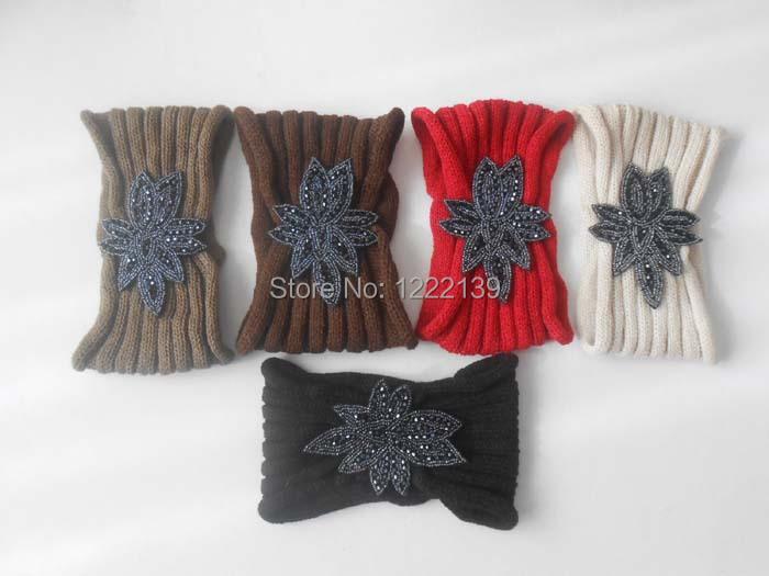 NEW Fashion Infinity Beaded Flower Jewelry Knitted Headband Women Winter Warm Crochet Beading Headwrap Hairband(China (Mainland))