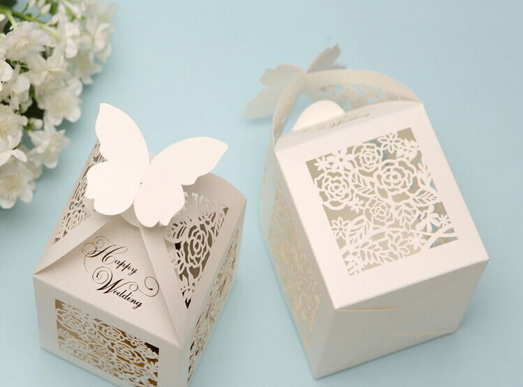 New Wedding Favor Ideas 2015 : 2015 new creative laser cut hollow flower/butterfly candy box Wedding ...
