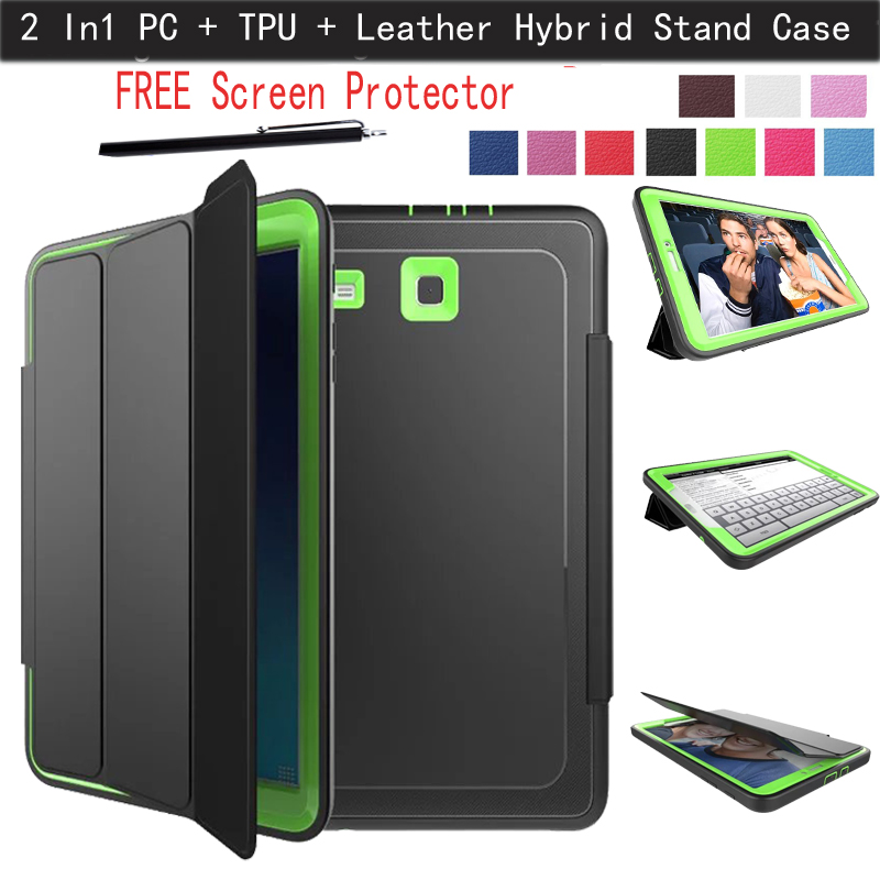 2 In1 PC + TPU + Leather Hybrid [Stand] Shockproof Protective Cover Case for Samsung Galaxy Tab E 9.6'' inch Tablet SM-T560 T561(China (Mainland))