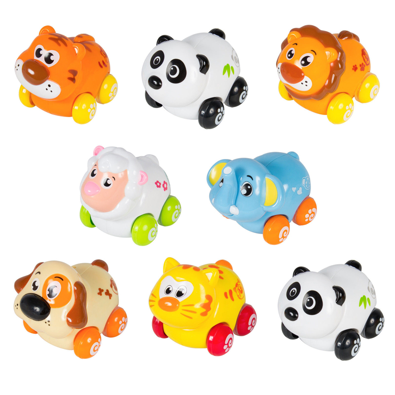 (Set of 3) Free Shipping Huile Toys Cheap Baby Toys Cartoon Animals Friction Push and Go Toy Cars Play Set for Baby 18 Month+(China (Mainland))
