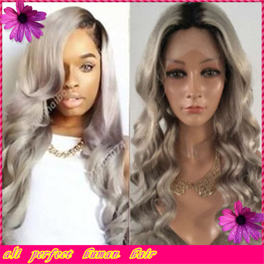 Best Quality virgin chinese remy human hair glueless full lace wig ombre lace front wig grey black two tone wigs for black women(China (Mainland))