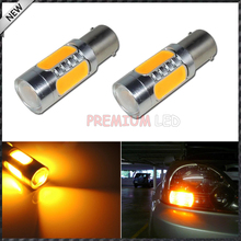 2pcs High Power 7.5W Amber Yellow 1157 S25 COB Projector LED Replacement Bulbs For Car Front or Rear Turn Signal Lights