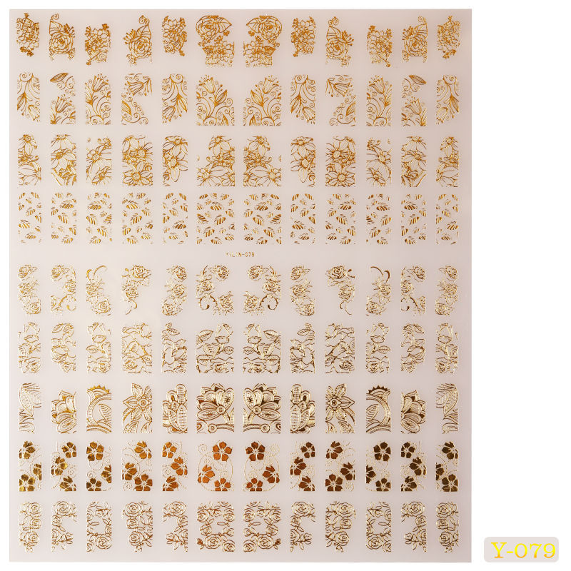 Yaoshun New Arrivel Gold 3D Nail Art Stickers 108pcs/sheet Mixed Designs Tips - Yao Shun Store store