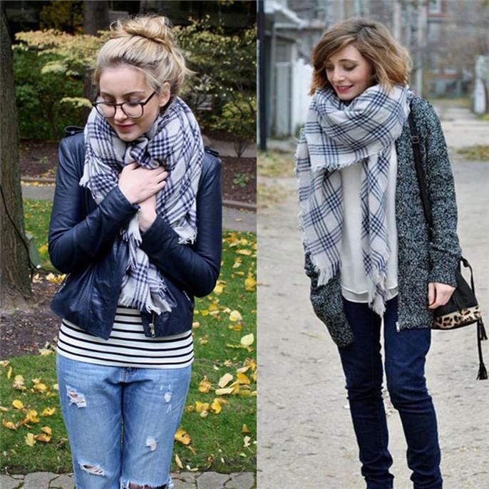 Women Lady Blanket Oversized font b Tartan b font Scarf Wrap Shawl Plaid Cozy Checked Vee