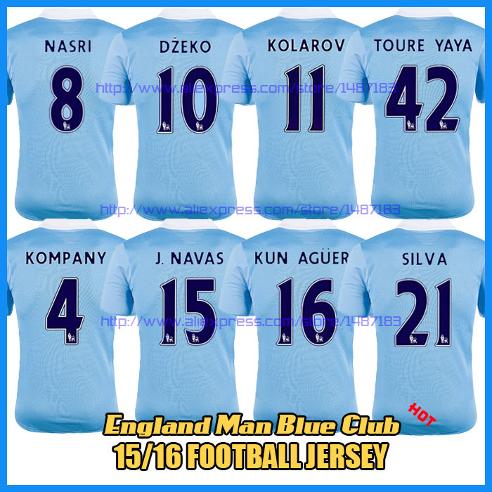 New Camiseta Manchester 15 16 Home Soccer Jersey Uniforms City Jacket 2016 SILVA AGUERO YAYA TOURE NASRI KOMPANY DZEKO Shirt(China (Mainland))