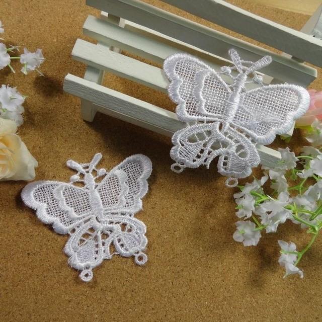 Wholesale butterfly designs Lace Appliques 3 colors For Decorations, Garment accessories,DIY appliques 200pcs/lot