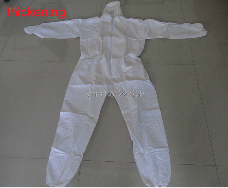 Disposable non-woven protective clothing breathable membrane protective clothing cleaning service one piece hooded thickening<br><br>Aliexpress