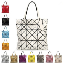 With Logo Women Geometric font b Plaid b font Bag Folded Madam Casual Tote Top Handle