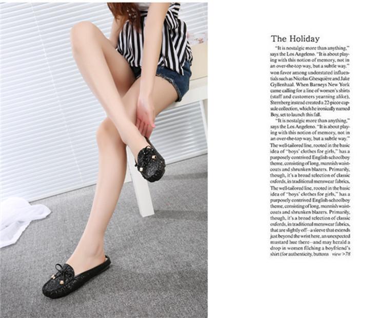 ซื้อ ประดับด้วยเลื่อมผ้าครึ่งรองเท้าแตะ2016แฟชั่นBowtie Slingbackรอบนิ้วเท้าแฟลตผู้หญิงจัดส่งบนเปิดส้นรองเท้าลำลองแฟลตระบายอากาศ
