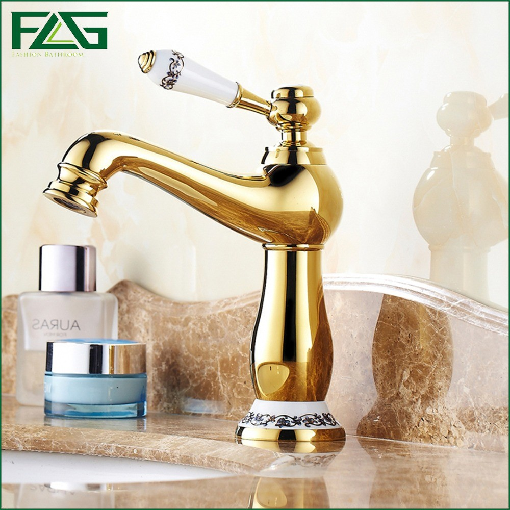FLG European Basin Faucet Single Lever With White Painted Flower Porcelain Golden Classic Bathroom Faucet Crane Water Tap M115(China (Mainland))