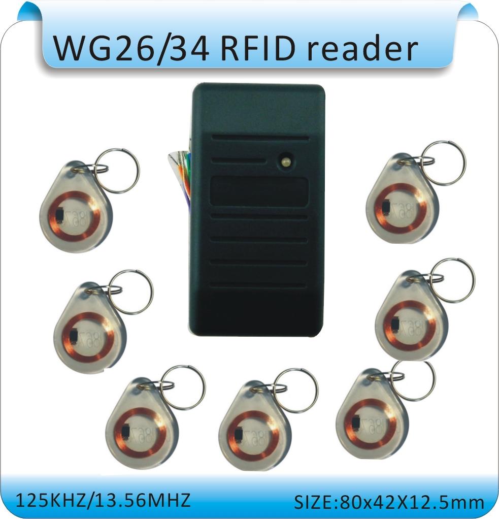Free shipping waterproof RFID 125KHZ Reader access control system WG26 reader /WG26/34 port +10pcs crystal keyfob(China (Mainland))