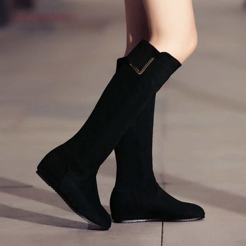 2015 Classic Women Winter Snow Boots Warm Thick Velvet Lining Platform Up Knee High Boots Round Toe Metalornament Flat Shoes