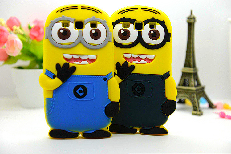 Fashional new arrival cute cartoon model silicon material Despicable Me Yellow Minion Case for Samsung Samsung Galaxy S3 i9300