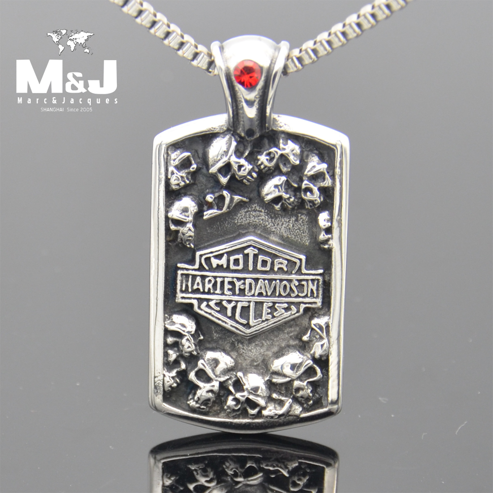 Free shipping Guaranteed 100% NEW Stainless steel Pendant Wholesale and retail.Fashion Haley Motorcycle with Skull Necklace(China (Mainland))