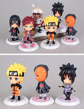 Hot Sale 6pcs/lot Naruto Action Figure Set Q Edition Toy Collection 7cm PVC Naruto Japanese Anime Figures Toy Set