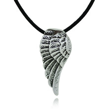 Titanium Stainless Steel Necklace Pendant Dragon Wing Wax Rope Chain Choker Fashion Jewelry For Men Women