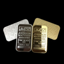 2 pcs (1 set) The JM Johnson Matthey real silver 24k gold plated American souvenir bullion bar replica coin set(China (Mainland))