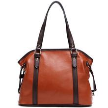 Women Fashion Casual Handbags Female Genuine Leather Cowhide Shoulder Bags Brown 2P1005