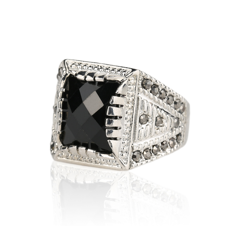 Luxury Men's Fashion Rings Vintage Punk Tibet Silver Alloy Square Black Stone Ring Size 11 Engagement Gift Crystal - kinel Retro Jewelry store