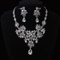 Fashion Gorgeous Clear Crystal Wedding bridal jewelry sets Gold Red rhinestone jewelry sets for Women Wedding