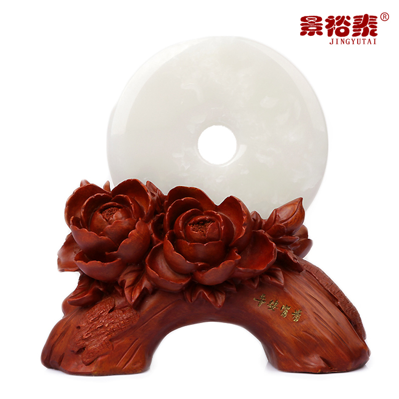 Natural jade peace buckle jade ornaments crafts home ornaments desk opening wedding gifts(China (Mainland))