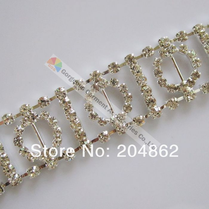 (free Express shipping) 10metres/lot Czech clear crystal chain rhinestone circle ring chain in Sliver setting(China (Mainland))