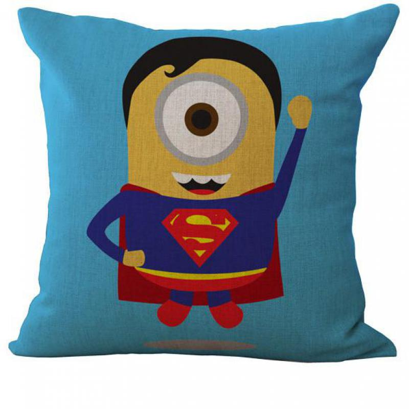 2016 New Hot Cartoon Animation Superman Series Linen Throw Cushion Cover Pillow Case For Home Kids
