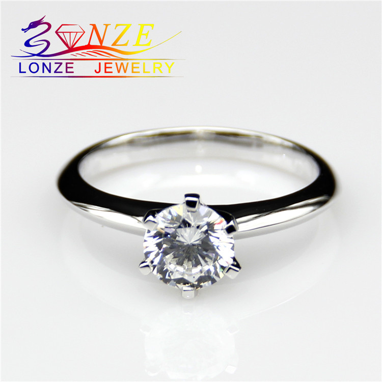 Solitaire Diamond Ring 9k White Gold 1 Carat Moissanite Lab Grown Diamond Wedding Rings Test as Real Diamond Ring Fine Jewelry<br><br>Aliexpress