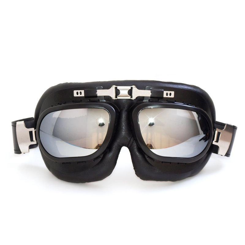 2016 new black frame Anti-UV Retro Aviator Motorcycle Goggles Leather Motorbike Motocross Helmet Goggle Glasses(China (Mainland))