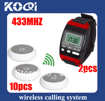 433.92mhz Bar calling system w 2 Wrist pagers +10 Call Bell with sing call . Wireless call system Freeshipping by EMS/DHL
