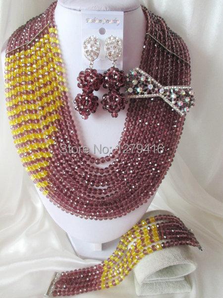 Fashion Nigerian African Wedding Beads Jewelry Set , Crystal Necklace Bracelet Earrings Set C0667<br><br>Aliexpress