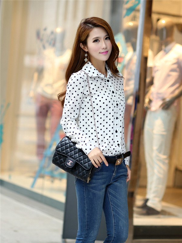 2014 Brand New Plus Size Casual Women Blouses Summer Women Shirt Polka Dots Vintage Design Long Sleeve Turn Down Collar Clothing(China (Mainland))
