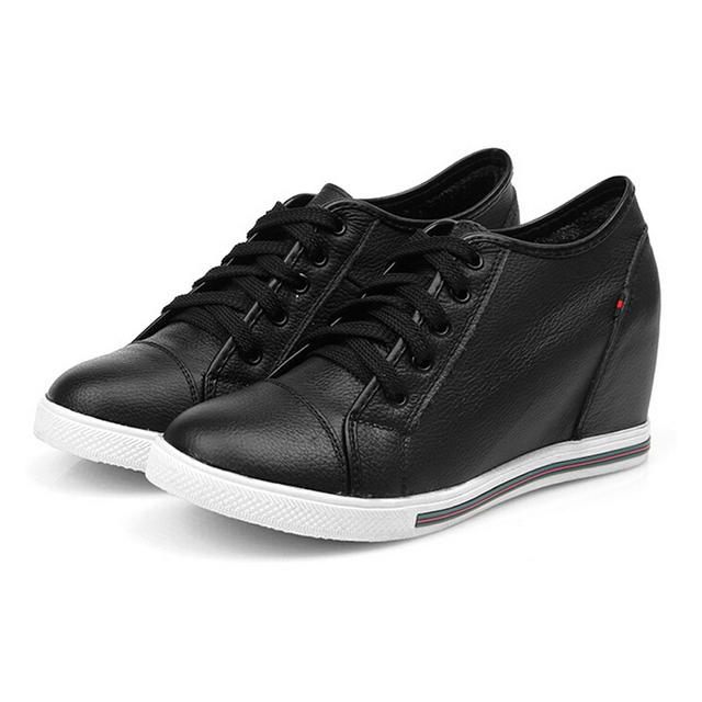 Женщины ботинки на шнурках натуральная кожа увеличение высоты платформы клин туфли ...