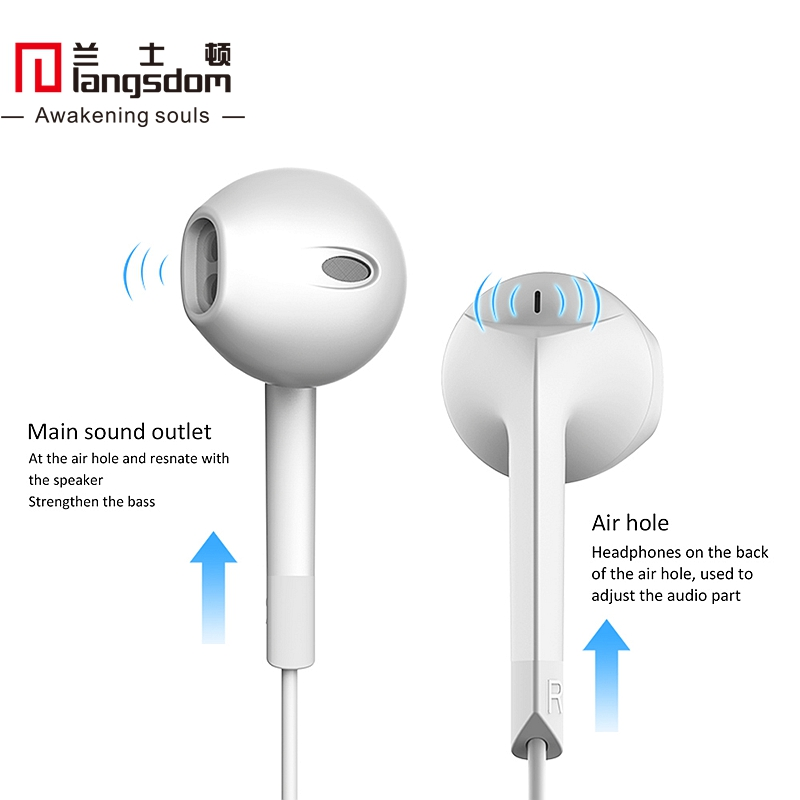 Original Langsdom E6 Patent Design Half In-ear Stereo Bass Earphones Volume Control with Mic Remote 3.5mm for iPhone Samsung(China (Mainland))