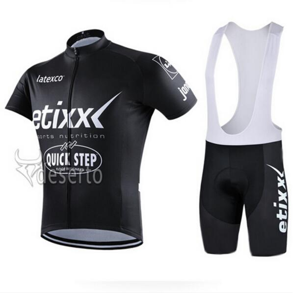 2016 ETIXX QUICK STEP PRO TEAM BLACK ONLY Ropa Ciclismo Short Sleeve Cycling Jersey Bike Bicycle Wear(China (Mainland))