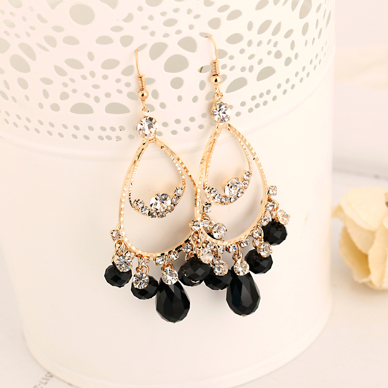 2016 Factory production of foreign trade fashion jewelry droplets crystal girl sexy earrings sell gold earrings for women E003(China (Mainland))
