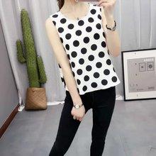 2016 New Summer Europe Fashion Women Tank Tops Black And White Polka Dot Print Vest Sleeveless O-Neck Maxi Size Loose Party Tees(China (Mainland))